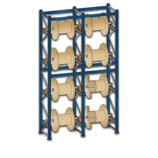 Kabeltrommelregal BlockRoll Grundregal 6000x1070x1045 mm 6 Achsen