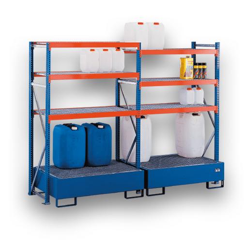 Umweltregal Anbauregal mit Auffangwannen 2000×600 mm – 3 Holmpaaare á 1250 mm W100 Weitspannregal