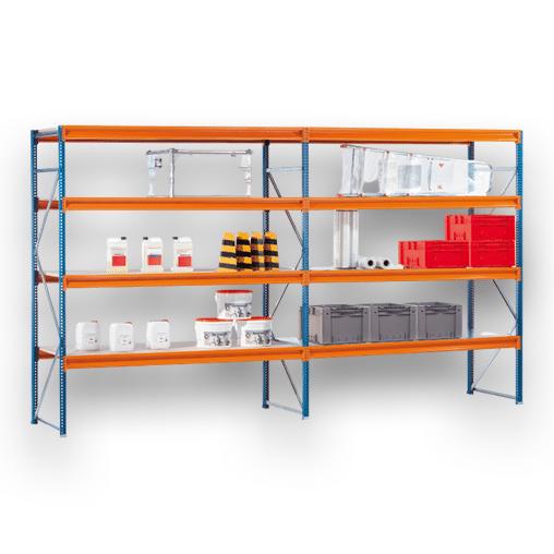 Weitspannregal W100 Grundregal SCHULTE Lagertechnik 3000x2140x1000 mm – 5 Ebenen Stahl, Fachlast 899 kg
