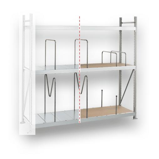 Weitspannregal Anbauregal SCHULTE Lagertechnik WS 3000 – 2000x2000x600 mm,3 Ebenen mit Spanplatten