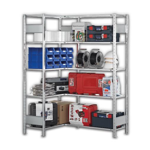 Eckregal A&B  Komplettregal verzinkt 2000x1000x400 mm (HxBxT)  2×5 Fachböden 150 kg Fachlast SCHULTE Lagertechnik