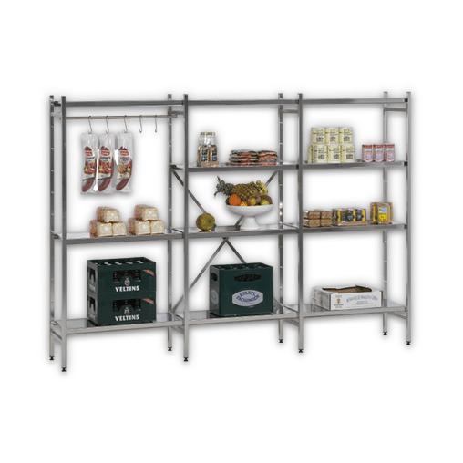 Lagerregal für Lebensmittel Edelstahl  Anbauregal 1950x1200x600 mm (HxBxT)  4 Lagerebenen SCHULTE Lagertechnik
