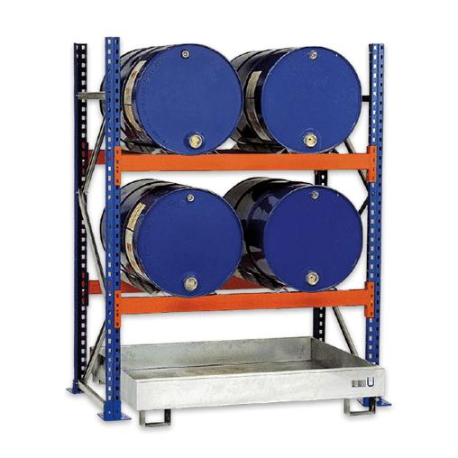Fassregal Anbauregal 2500x1350x800 mm – für 6×200 l Fässer liegend SCHULTE Lagertechnik