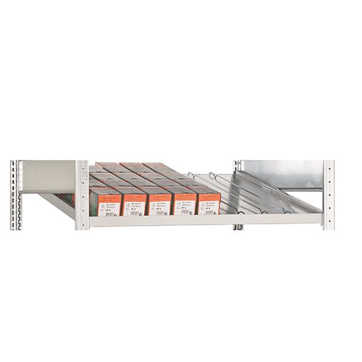 Zusatzebene für Kanbanregal 1300×500 mm (BxT) mit 7 Trenn- & 2 Seitenführungen 150 kg Fachlast