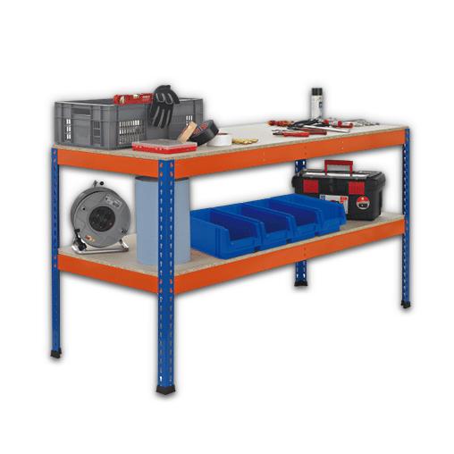 Z1 Werktisch blau/orange – 990 x 2450 x 926 mm Arbeitstisch / Packtisch