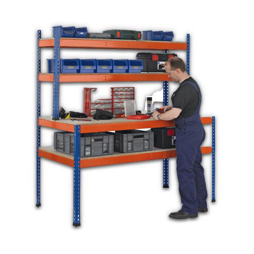 Z1 Werktisch blau/orange – 1981/990x1536x773/316 mm Arbeitstisch / Packtisch