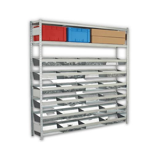 Weitspannregal mit Gitterkörben WS 2000 2000x1500x400 mm – 1 Ebenen Stahlboden,6 Ebenen Gitterkörbe