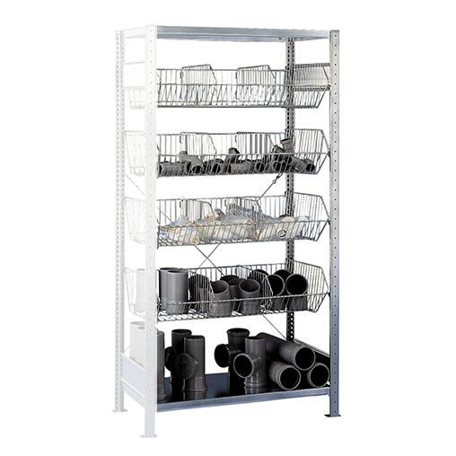 Fachbodenregal mit Drahtkörben Anbauregal – 2000x1000x500 mm, 4 Körbe SCHULTE Lagertechnik
