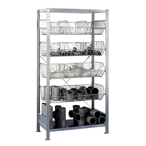 Fachbodenregal mit Drahtkörben Grundregal – 2000x1000x500 mm, 4 Körbe SCHULTE Lagertechnik