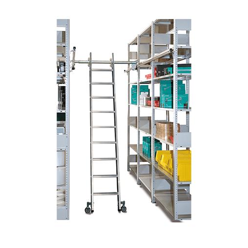 Alu-Regalleiter für Doppelregal – seitlich verschiebbar, 12 Stufen