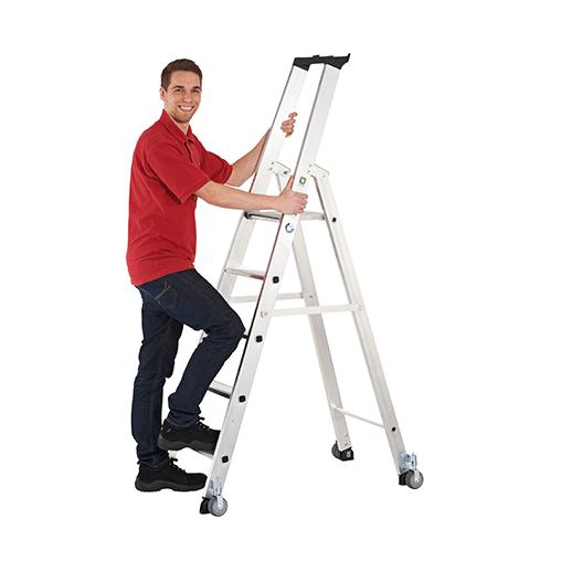 Aluminium-Stehleiter, 9 Stufen – mit Rollen, Arbeitsh. 4250 mm
