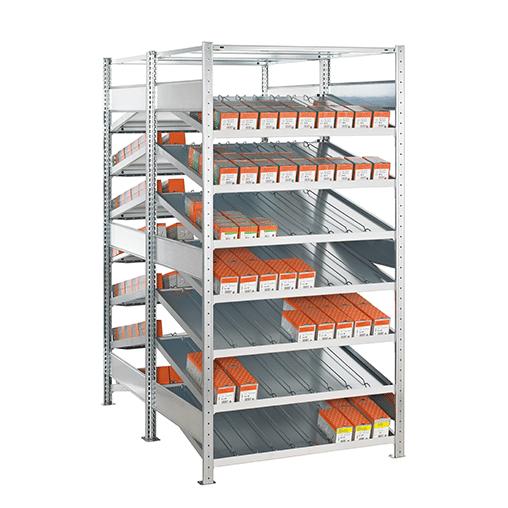 Kanbanregal Doppel-Grundregal 2000x1300x2x800 mm ohne Trenn- & Seitenführungen – 2×8 Fachböden
