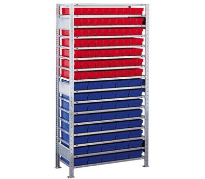 Kleinteileregal-Set Blau rot von SCHULTE Lagertechnik online kaufen bei Kauf-dein-Regal.de
