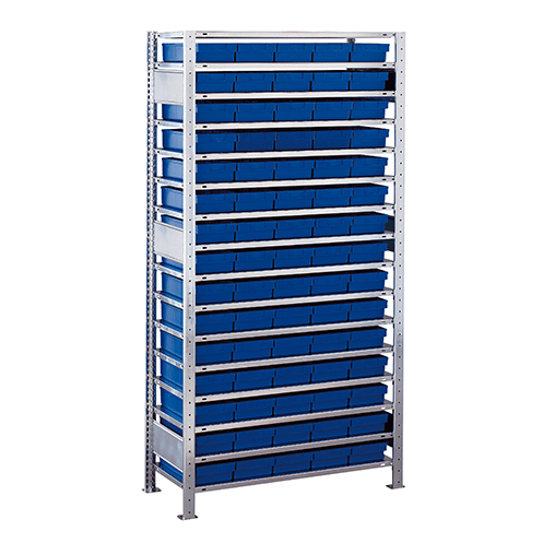 Kleinteileregal Anbauregal – 2000x1000x600 mm 16 Fachböden, 75 Kästen verzinkt