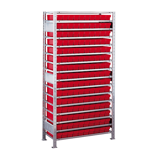 Kleinteileregal Anbauregal – 2000x1000x300 mm 16 Fachböden, 150 Kästen verzinkt