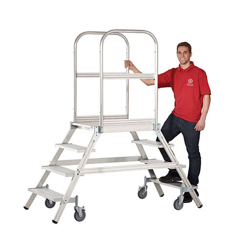 Aluminium Podestleiter,8 Stufen – inkl.Plattform, Arbeitsh. 3900 mm