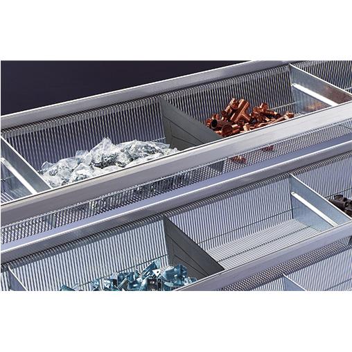 Weitspannregal Zusatzebene WS 2000 – 2500×400 mm mit Gitterkörben, inkl. 5 Fachteiler