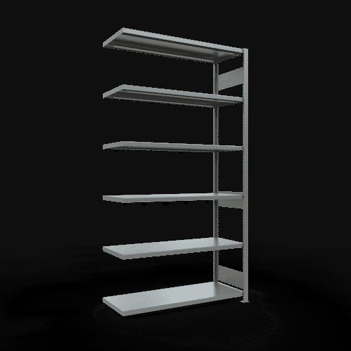 Steckregal Anbauregal  2500x1300x500 mm, Fachlast 250 kg Rahmen montiert mit Längenriegel SCHULTE Lagertechnik