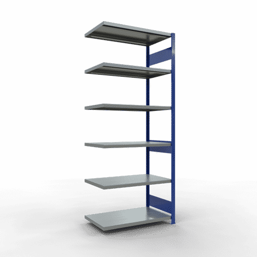 Steckregal Anbauregal  2500x1000x600 mm, Fachlast 250 kg Rahmen montiert mit Längenriegel SCHULTE Lagertechnik