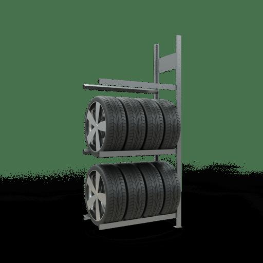 Räderregal Anbauregal SCHULTE Lagertechnik 2000x900x400 mm – 3 Ebenen à 900 mm, verzinkt