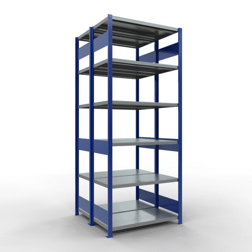 Doppelregal Grundregal Stecksystem 2500x1000x2x500 mm 2×6 Fachböden 250 kg Fachlast SCHULTE Lagertechnik