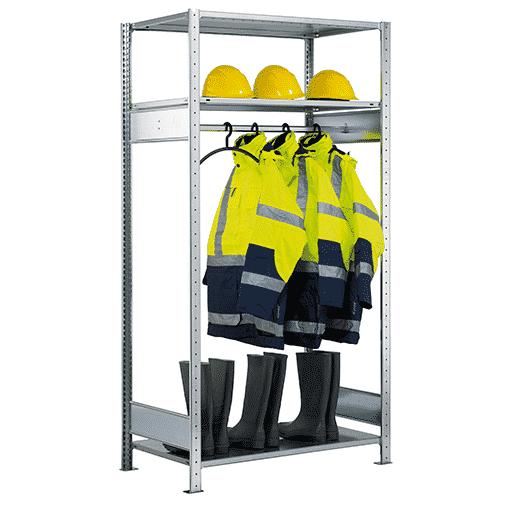 Garderobenregal SCHULTE Grundregal 2000x1300x600 mm mit Kleiderstange