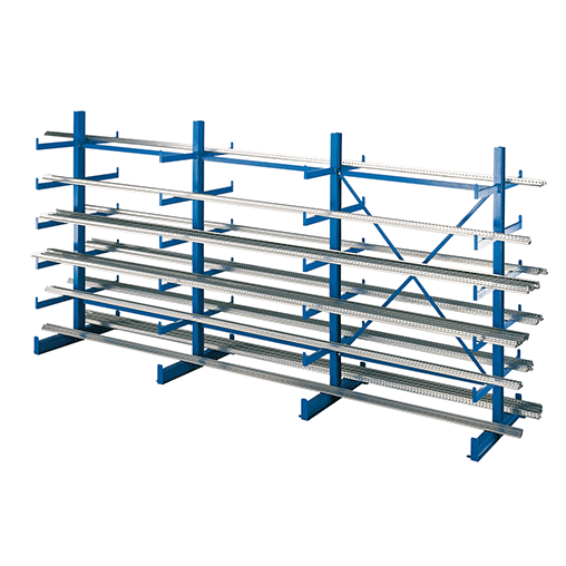 Kragarmregal Set K1000 2000x6250x2x500 mm 5 Ebenen beidseitig SCHULTE Lagertechnik