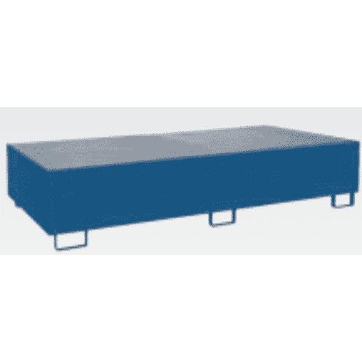 Auffangwanne für Palettenregal für Holmlänge 2.700 mm enzianblau mit Gitterrost Auffangwanne