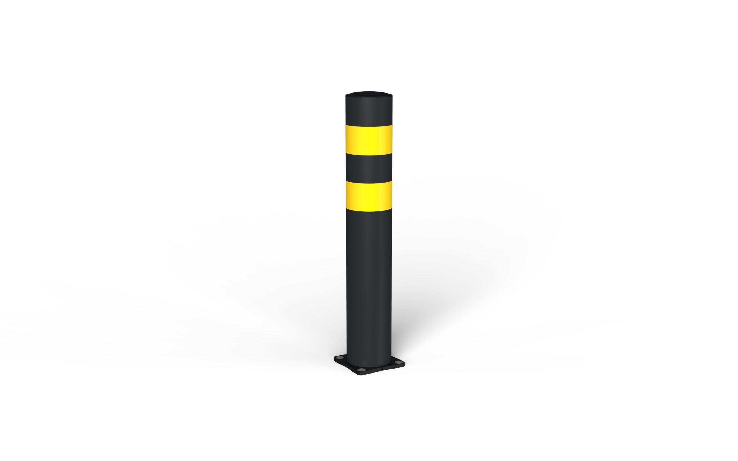 Schutzpoller boplan® BO Light Ø125 – Höhe 750 mm – schwarz/gelb – verzinkte Bodenplatte