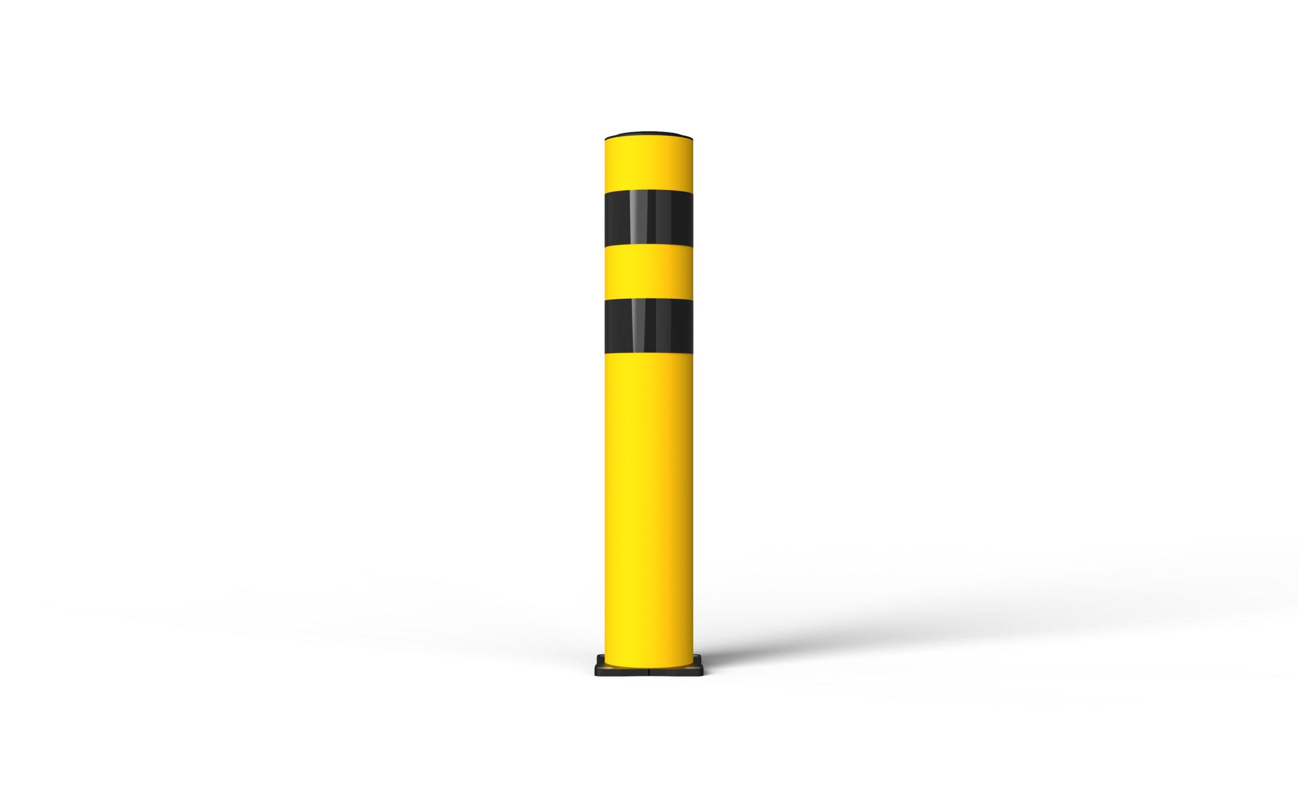 Schutzpoller boplan® BO Light Ø125 – Höhe 750 mm – gelb – verzinkte Bodenplatte