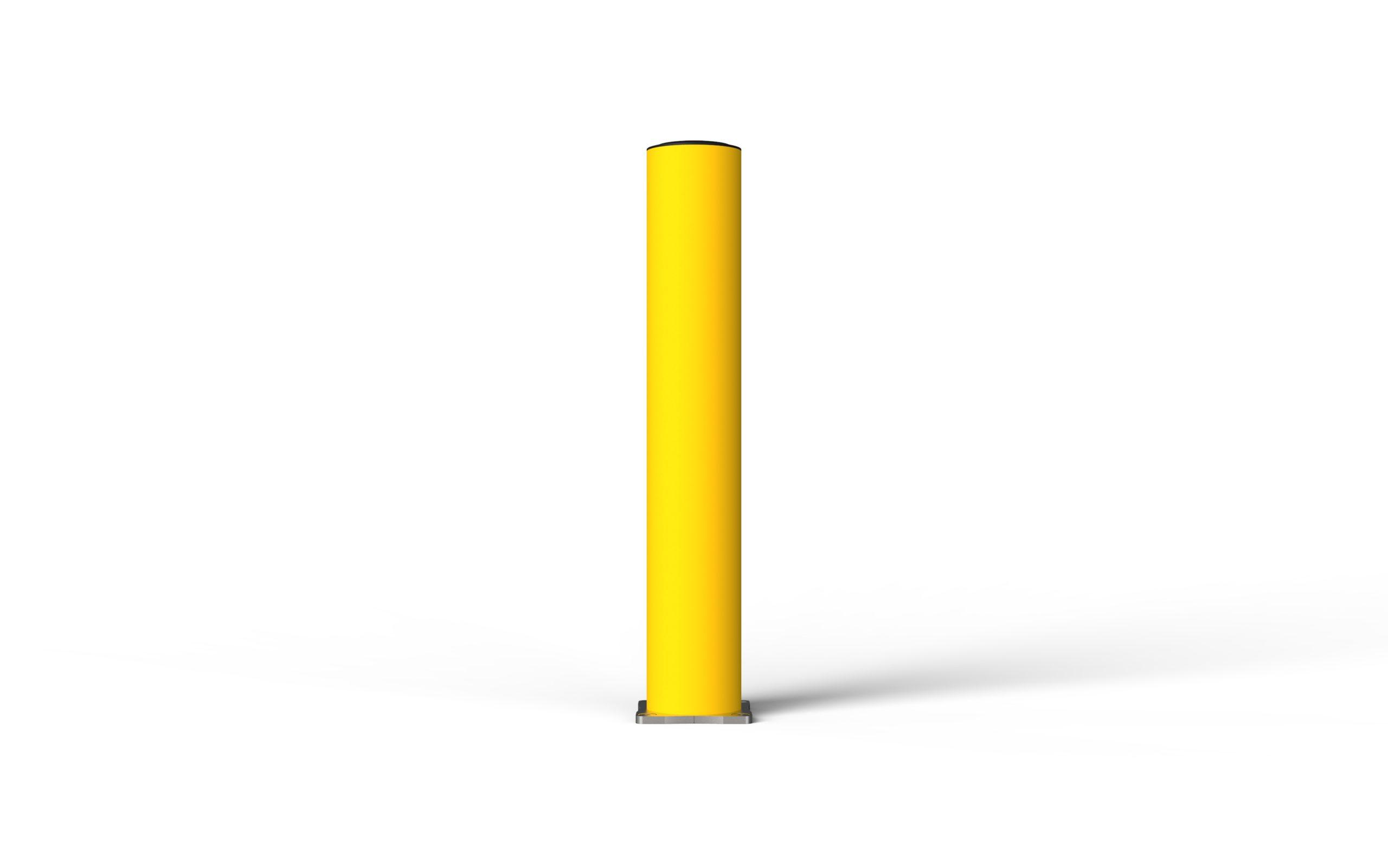 Schutzpoller boplan® BO Light Ø125 – Höhe 750 mm – gelb – Edelstahl Bodenplatte