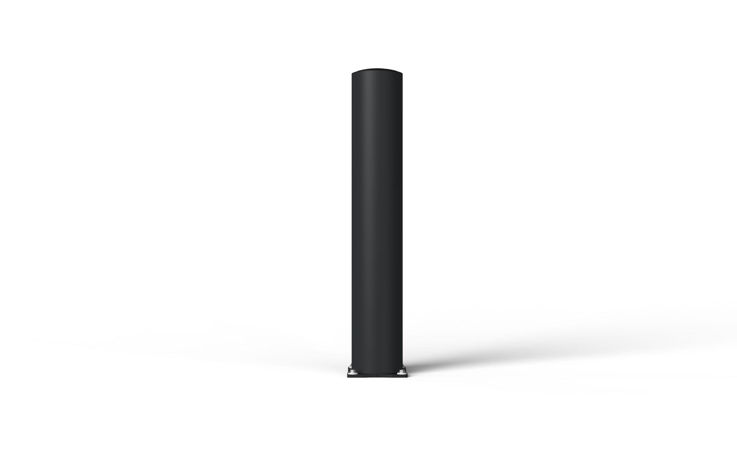 Schutzpoller boplan® BO Impact Ø200 – Höhe 1200 mm – schwarz mit galvanisch verzinkter Bodenplatte