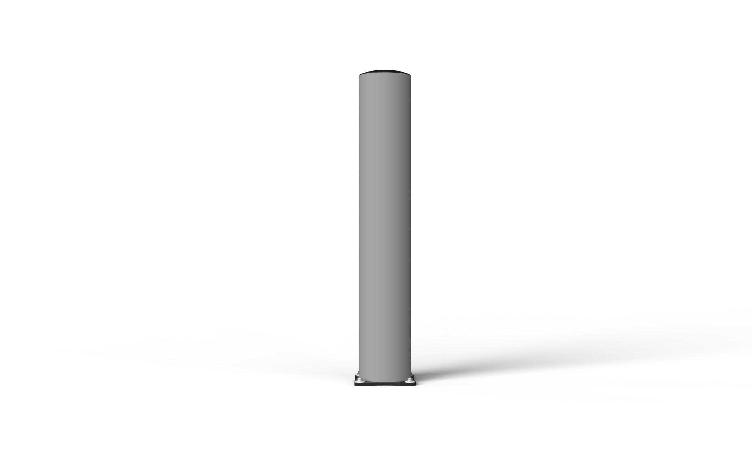 Schutzpoller boplan® BO Impact Ø200 – Höhe 1200 mm – grau mit galvanisch verzinkter Bodenplatte