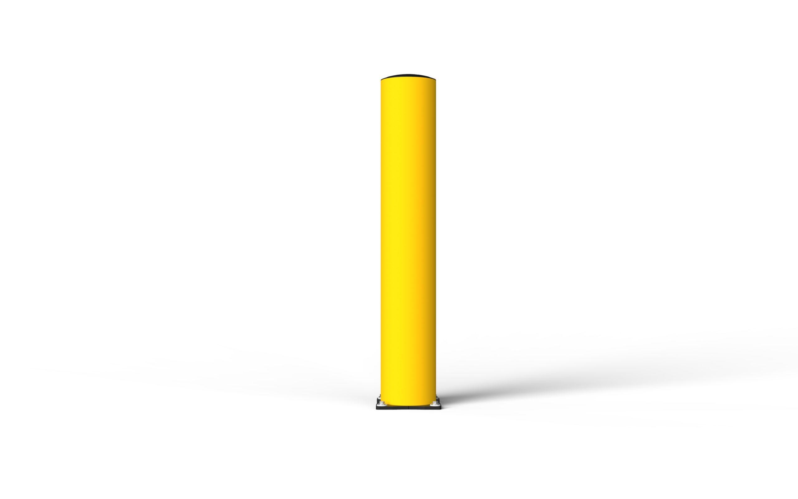 Schutzpoller boplan® BO Impact Ø200 – Höhe 1200 mm – gelb mit galvanisch verzinkter Bodenplatte