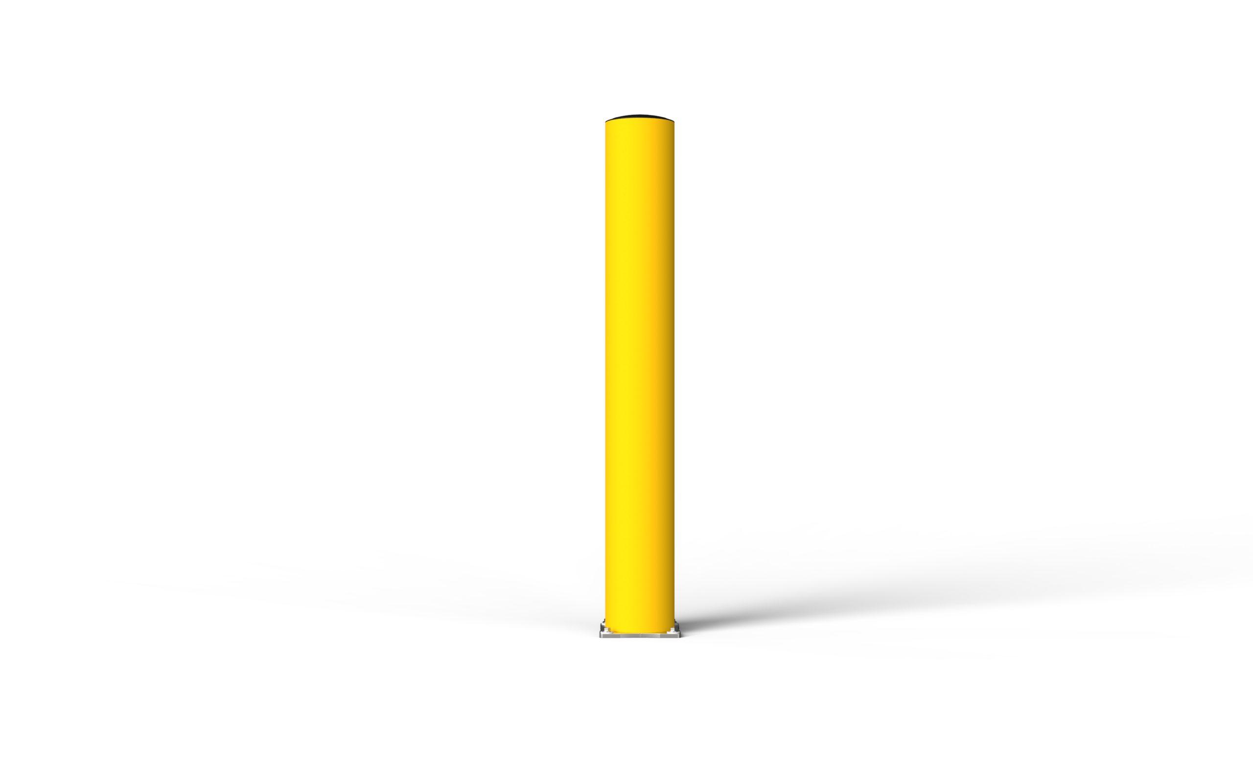 Schutzpoller boplan® BO Impact Ø200 – Höhe 1500 mm – gelb mit Edelstahlbodenplatte