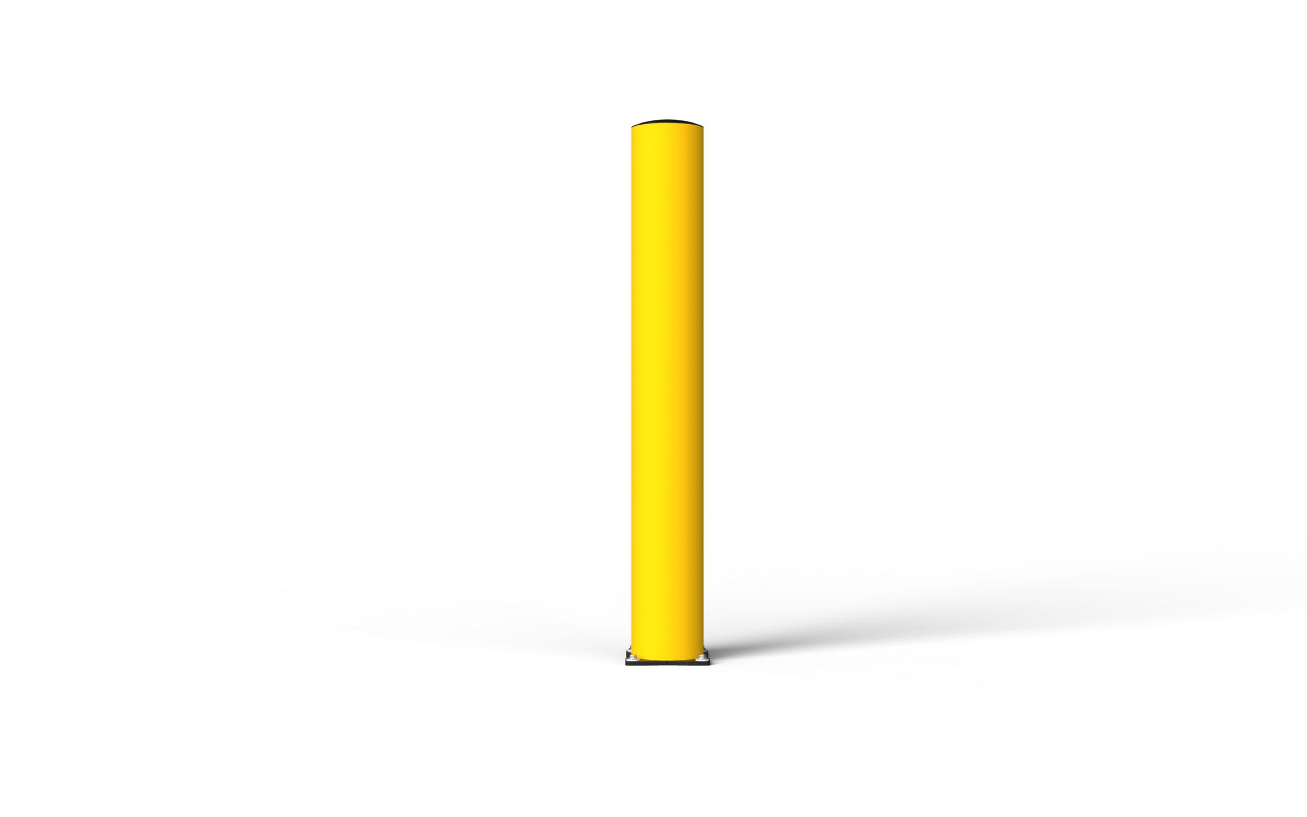 Schutzpoller boplan® BO Impact Ø200 – Höhe 1500 mm – gelb mit galvanisch verzinkter Bodenplatte