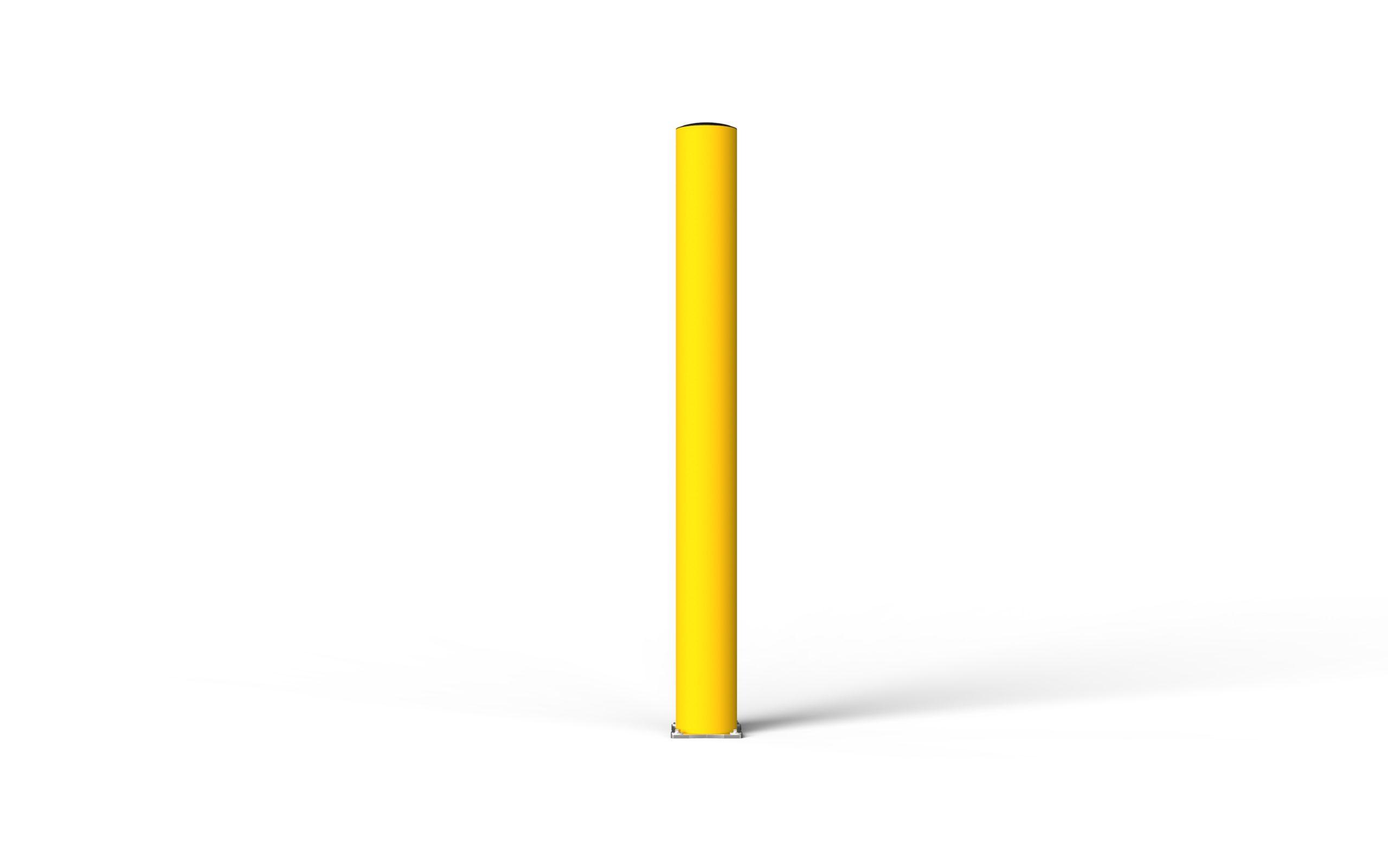 Schutzpoller boplan® BO Impact Ø200 – Höhe 2000 mm – gelb mit Edelstahlbodenplatte