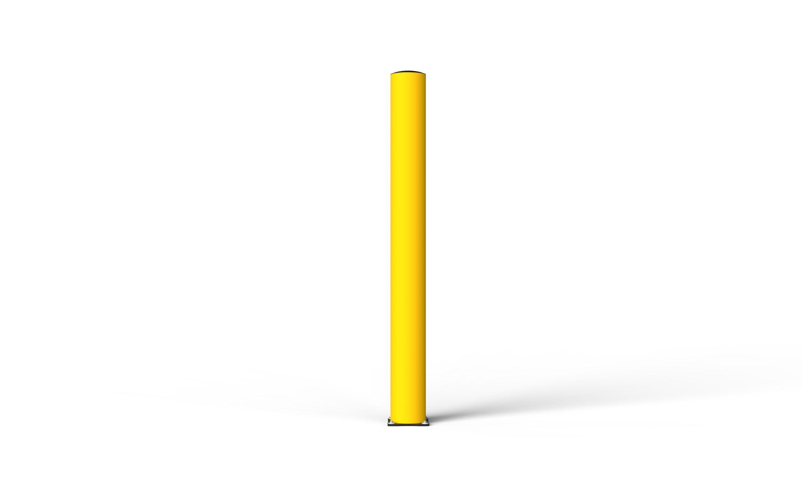 Schutzpoller boplan® BO Impact Ø200 – Höhe 2000 mm – gelb mit galvanisch verzinkter Bodenplatte