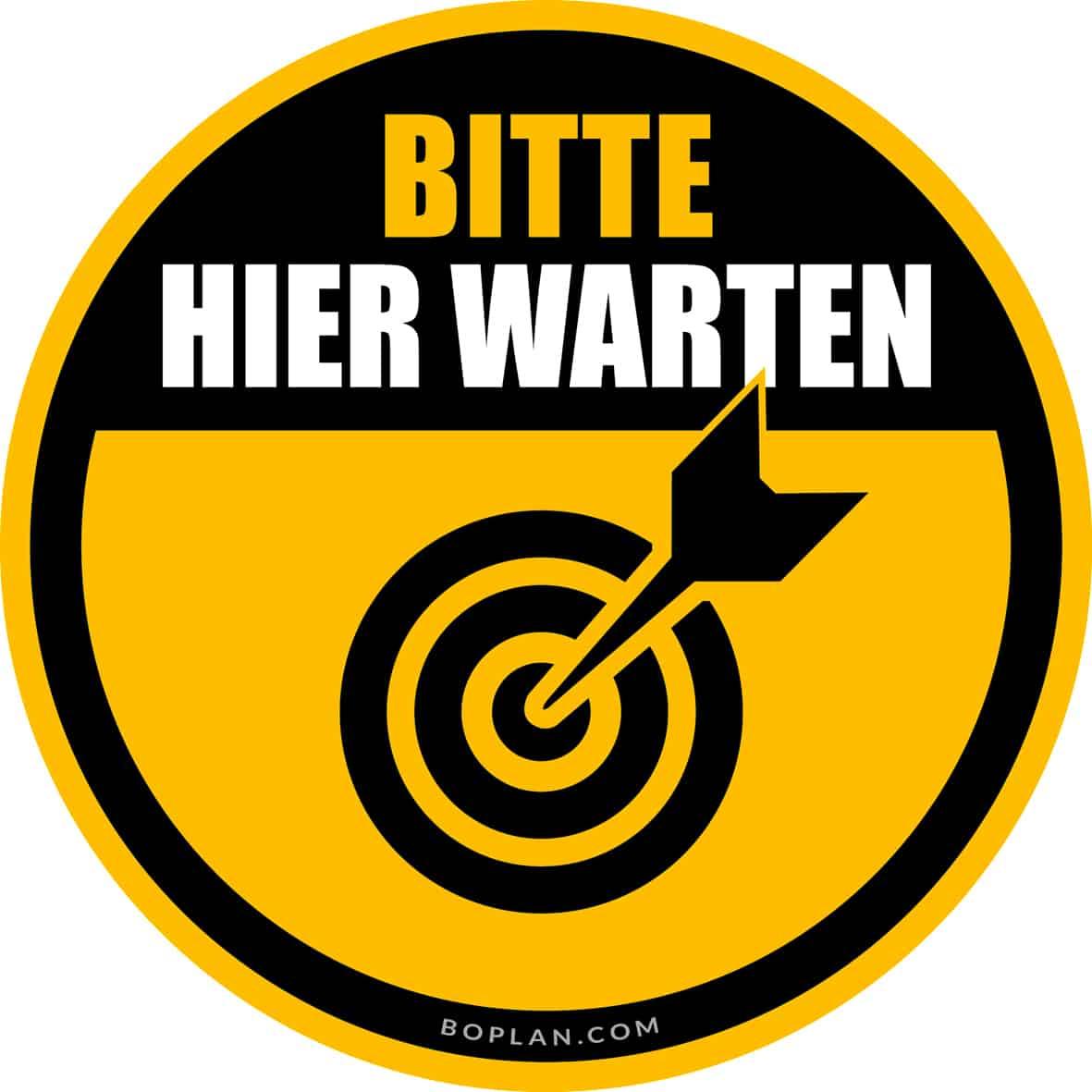 "boplan® Bodenmarkierung ""Bitte warten"" Ø430mm – YE/BL"