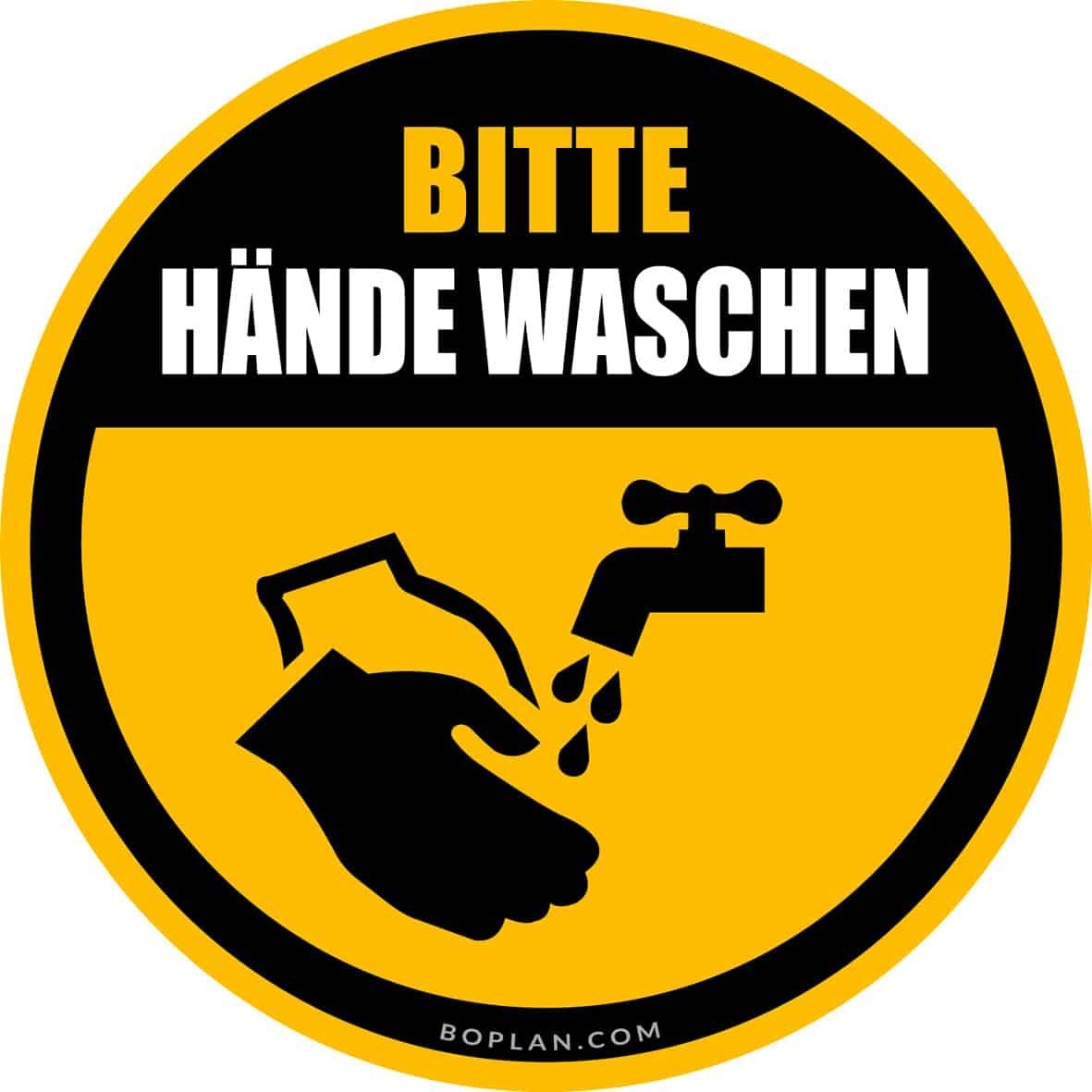 """boplan® Bodenmarkierung """"Hände waschen"""" Ø430mm – YE/BL"""