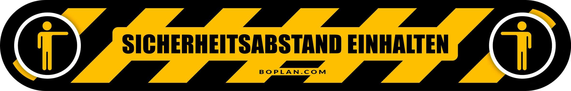 """boplan® Bodenmarkierung """"Sicherheitsabstand einhalten""""800x120mm – YE/BL"""
