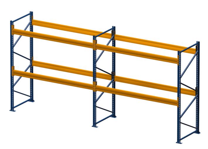 Palettenregal NEDCON, Einfachregal, 3 Lagerebenen, H3000xB3950xT1100 mm, Fachlast 3800 kg, 12 Palettenplätze
