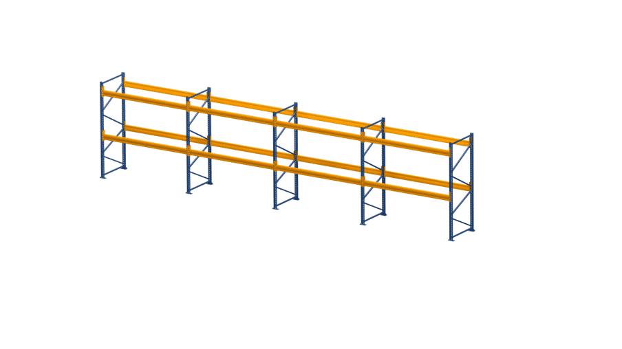 Palettenregal NEDCON, Einfachregal, 3 Lagerebenen, H2500xB9550xT1100 mm, Fachlast 3000 kg, 30 Palettenplätze