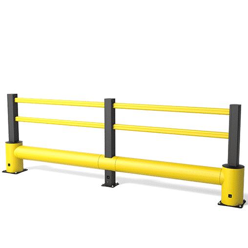 Rammschutz Geländer von boplan® Mega Flex impact® gelb/schwarz, 4800x1160x300 mm 4 Pfosten