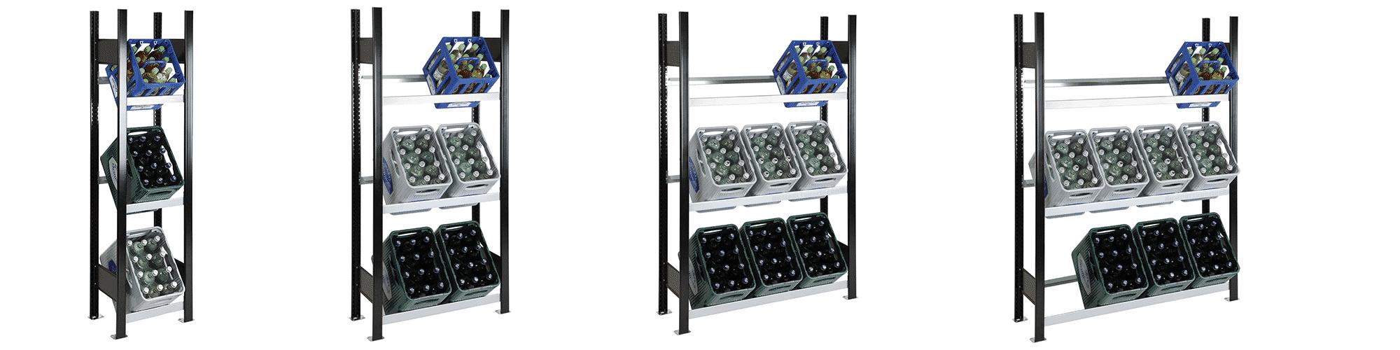Getränkekistenregale in der Übersicht von SCHULTE Lagertechnik
