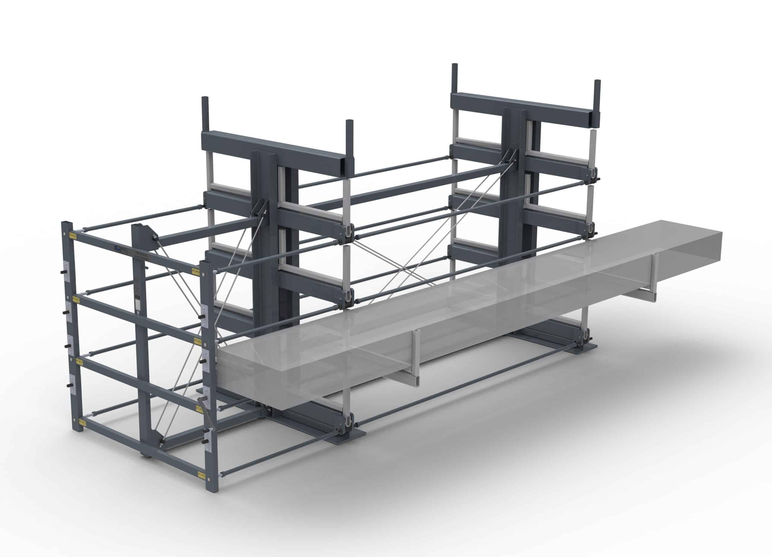 Roll-aus-Regal für Langgut JUMBO-4E-2G-92×20 ML=3000mm – Ausrollbares Kragarmregal