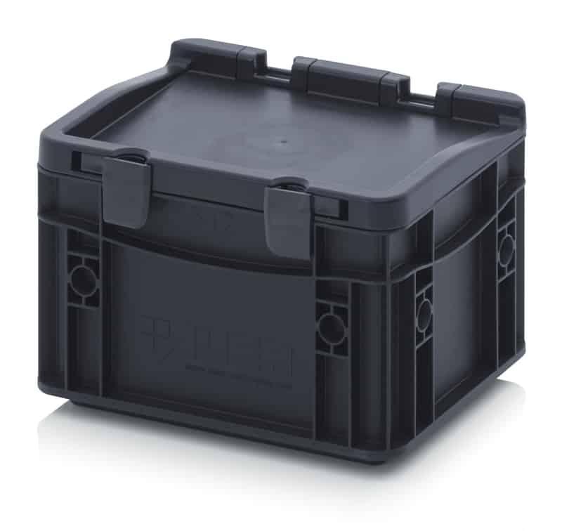 ESD-Eurobehälter / Eurobox mit Scharnierdeckel 20 x 15 x 13,5 cm AUER packaging