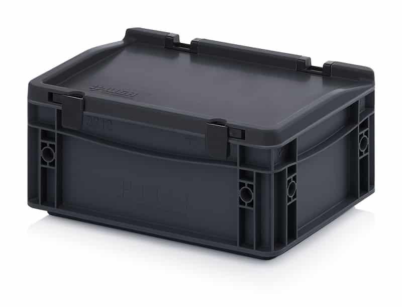 ESD-Eurobehälter / Eurobox mit Scharnierdeckel 30 x 20 x 13,5 cm AUER packaging