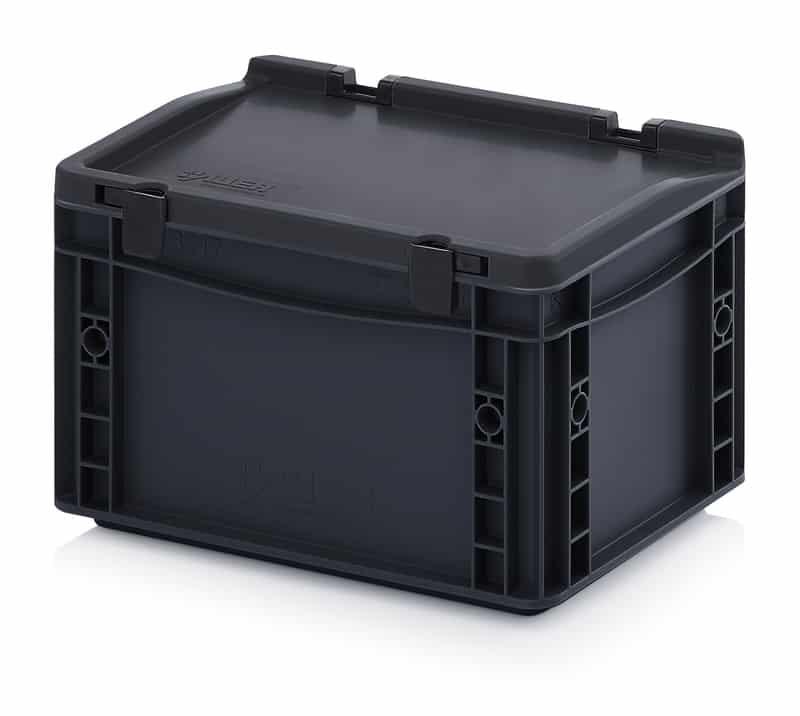 ESD-Eurobehälter / Eurobox mit Scharnierdeckel 30 x 20 x 18,5 cm AUER packaging