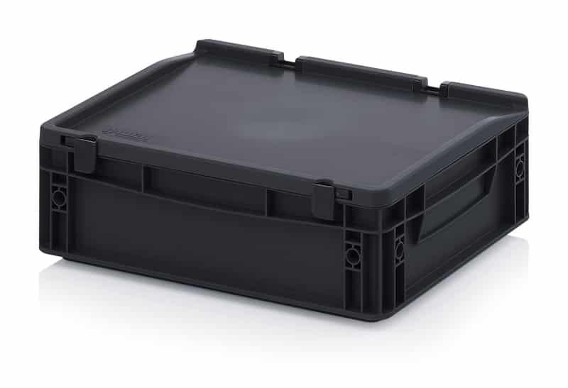 ESD-Eurobehälter / Eurobox mit Scharnierdeckel 40 x 30 x 13,5 cm AUER packaging